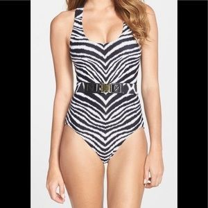 Michael Kors Zebra Print Belted one Piece Swim 10
